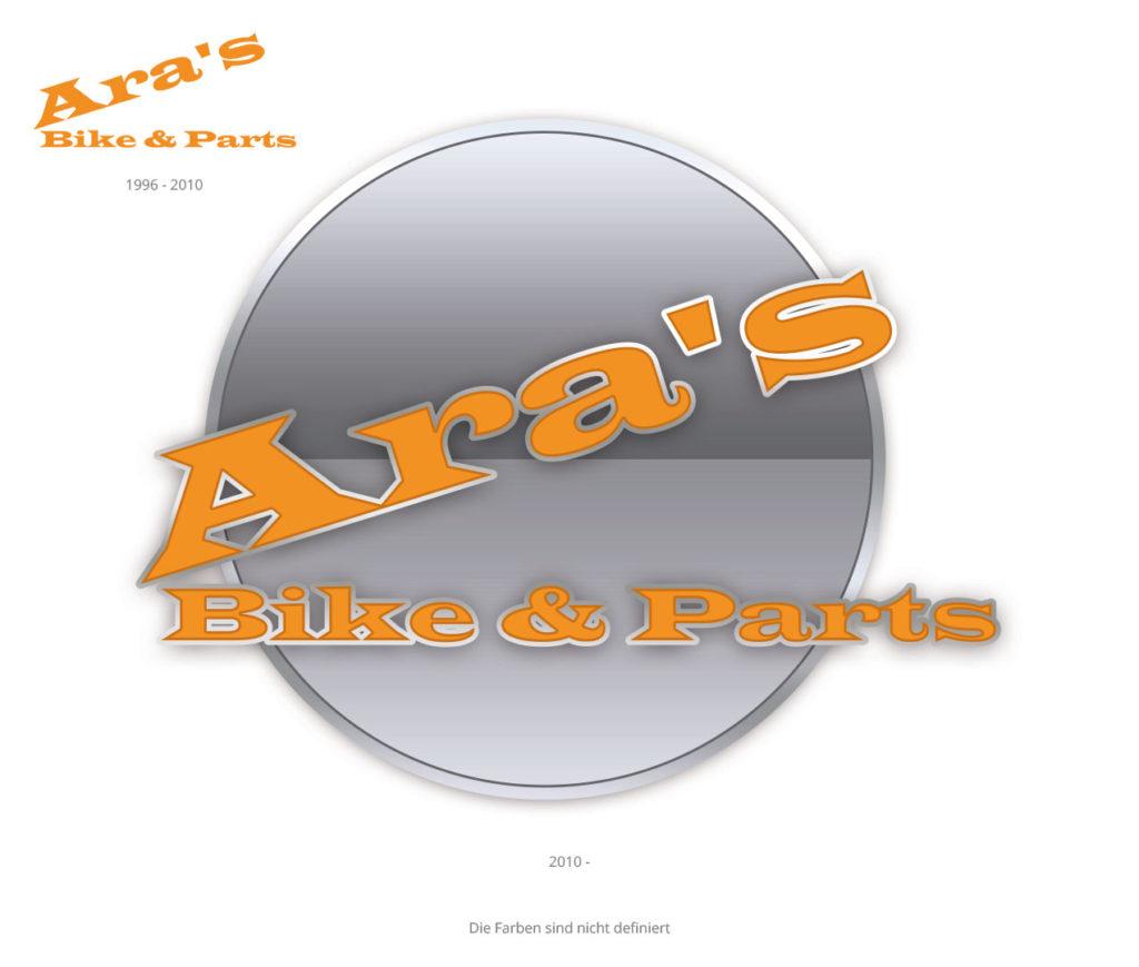 Aktualisierung von Design des Logos, Jahr 2010 | Ara's Bike&Parts, Finnland