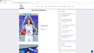 Desktopversion av webbsida med löpande uppdateringar | Towers Basketball, Tyskland
