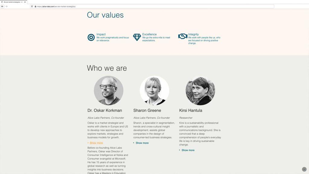 Desktopversion av basic webbsida | Alice Labs oy, Finland